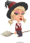 Pretty Blonde Witch Vector Cartoon Character AKA Ophelia the Biz Witch - Making a Funny Face