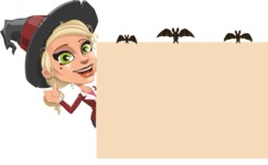 Pretty Blonde Witch Vector Cartoon Character AKA Ophelia the Biz Witch - Making a Presentation on a Whiteboard