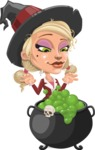 Pretty Blonde Witch Vector Cartoon Character AKA Ophelia the Biz Witch - Making Potion