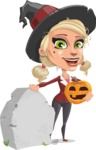 Pretty Blonde Witch Vector Cartoon Character AKA Ophelia the Biz Witch - On a Graveyard
