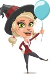 Pretty Blonde Witch Vector Cartoon Character AKA Ophelia the Biz Witch - On a Party with a Balloon