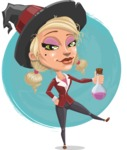 Pretty Blonde Witch Vector Cartoon Character AKA Ophelia the Biz Witch - On a Watercolor Background