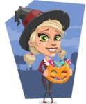 Pretty Blonde Witch Vector Cartoon Character AKA Ophelia the Biz Witch - On Halloween Night Illustration