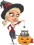 Pretty Blonde Witch Vector Cartoon Character AKA Ophelia the Biz Witch - Playing With Cat on Halloween