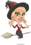 Pretty Blonde Witch Vector Cartoon Character AKA Ophelia the Biz Witch - Pointing and Making Thumbs Up
