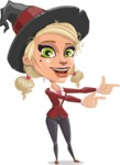 Pretty Blonde Witch Vector Cartoon Character AKA Ophelia the Biz Witch - Pointing with Hands