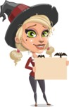 Pretty Blonde Witch Vector Cartoon Character AKA Ophelia the Biz Witch - Presenting on a Blank Halloween Sign