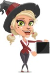 Pretty Blonde Witch Vector Cartoon Character AKA Ophelia the Biz Witch - Showing on a Blank Tablet