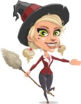 Pretty Blonde Witch Vector Cartoon Character AKA Ophelia the Biz Witch - Showing with a Hand