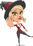 Pretty Blonde Witch Vector Cartoon Character AKA Ophelia the Biz Witch - Waving