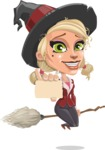 Pretty Blonde Witch Vector Cartoon Character AKA Ophelia the Biz Witch - With a Blank Business Card