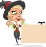 Pretty Blonde Witch Vector Cartoon Character AKA Ophelia the Biz Witch - With a Blank Halloween Sign with a Bat