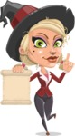 Pretty Blonde Witch Vector Cartoon Character AKA Ophelia the Biz Witch - With a Blank Scroll