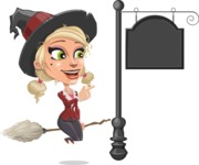 Pretty Blonde Witch Vector Cartoon Character AKA Ophelia the Biz Witch - With a Blank Vintage Street Sign