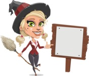 Pretty Blonde Witch Vector Cartoon Character AKA Ophelia the Biz Witch - With a Blank Wood Sign