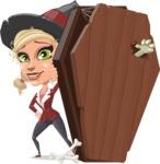 Pretty Blonde Witch Vector Cartoon Character AKA Ophelia the Biz Witch - With a Coffin and a Zombie