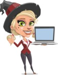 Pretty Blonde Witch Vector Cartoon Character AKA Ophelia the Biz Witch - With a Computer