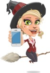 Pretty Blonde Witch Vector Cartoon Character AKA Ophelia the Biz Witch - with a Phone