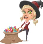Pretty Blonde Witch Vector Cartoon Character AKA Ophelia the Biz Witch - With Bag full of Halloween Treats
