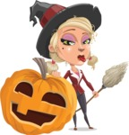 Pretty Blonde Witch Vector Cartoon Character AKA Ophelia the Biz Witch - With Big Halloween Pumpkin