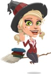 Pretty Blonde Witch Vector Cartoon Character AKA Ophelia the Biz Witch - With Books