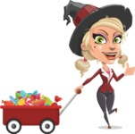 Pretty Blonde Witch Vector Cartoon Character AKA Ophelia the Biz Witch - With Candy Wagoon
