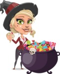 Pretty Blonde Witch Vector Cartoon Character AKA Ophelia the Biz Witch - with Cauldron full of Sweets