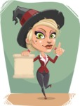 Pretty Blonde Witch Vector Cartoon Character AKA Ophelia the Biz Witch - With Flat Halloween Background