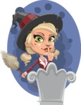 Pretty Blonde Witch Vector Cartoon Character AKA Ophelia the Biz Witch - With Grave and Background