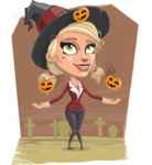 Pretty Blonde Witch Vector Cartoon Character AKA Ophelia the Biz Witch - With Graveyard Background on Halloween