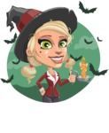 Pretty Blonde Witch Vector Cartoon Character AKA Ophelia the Biz Witch - With Halloween Background with Bats