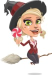 Pretty Blonde Witch Vector Cartoon Character AKA Ophelia the Biz Witch - With Halloween Candy