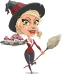 Pretty Blonde Witch Vector Cartoon Character AKA Ophelia the Biz Witch - With Halloween Sweets
