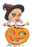 Pretty Blonde Witch Vector Cartoon Character AKA Ophelia the Biz Witch - With Huge Pumpkin full of Treats