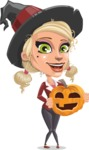 Pretty Blonde Witch Vector Cartoon Character AKA Ophelia the Biz Witch - With Pumpkin