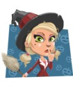 Pretty Blonde Witch Vector Cartoon Character AKA Ophelia the Biz Witch - With Pumpkins Background
