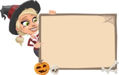 Pretty Blonde Witch Vector Cartoon Character AKA Ophelia the Biz Witch - With Whiteboard on Halloween Theme