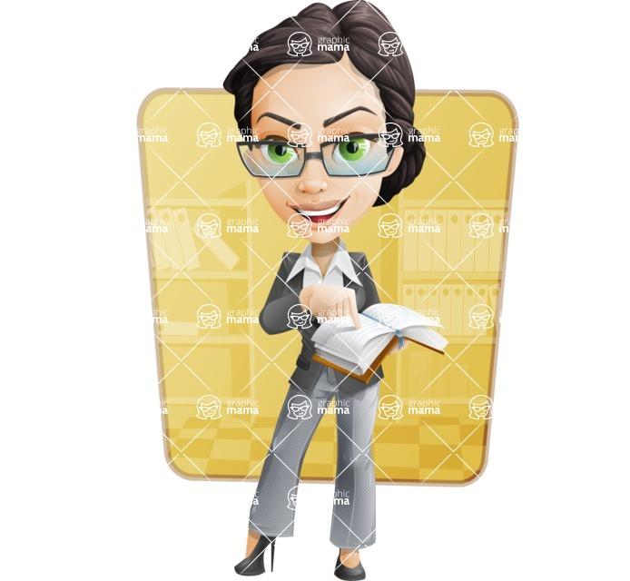 Vector Stylish Office Woman Cartoon Character - Shape6