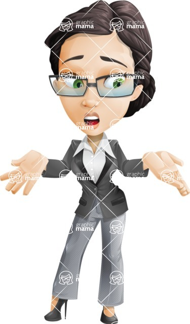Vector Stylish Office Woman Cartoon Character - Lost