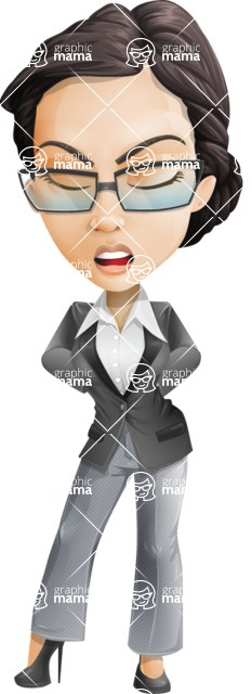Vector Stylish Office Woman Cartoon Character - Bored