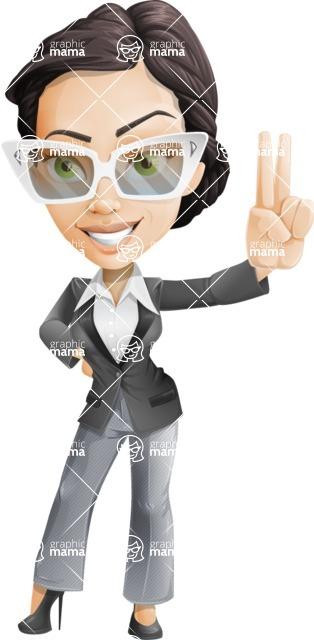 Vector Stylish Office Woman Cartoon Character - Sunglasses