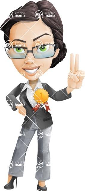 Vector Stylish Office Woman Cartoon Character - Ribbon
