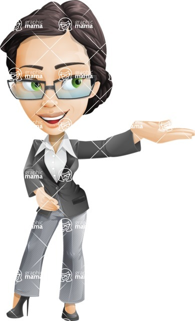 Vector Stylish Office Woman Cartoon Character - Showcase