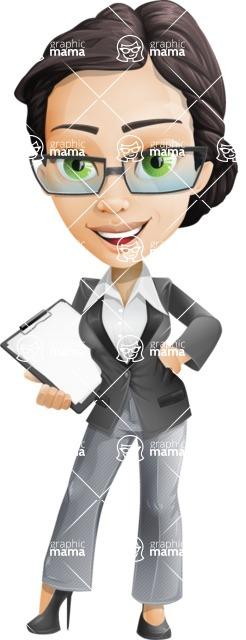 Vector Stylish Office Woman Cartoon Character - Notepad2