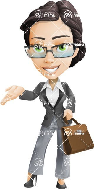 Vector Stylish Office Woman Cartoon Character - Briefcase2