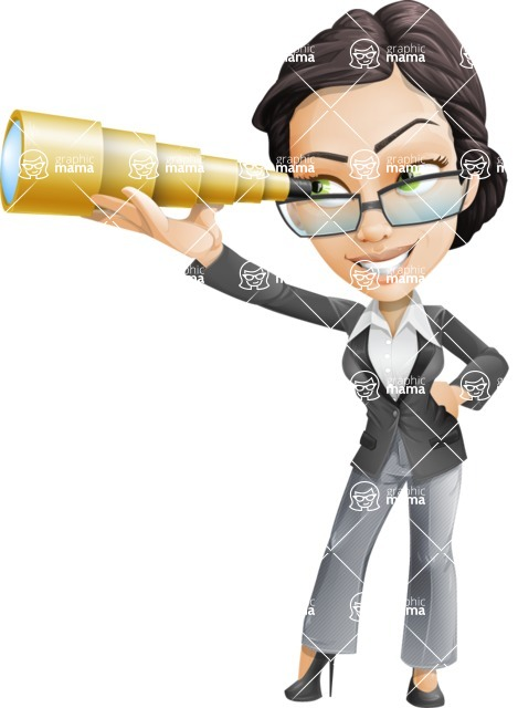 Vector Stylish Office Woman Cartoon Character - Telescope
