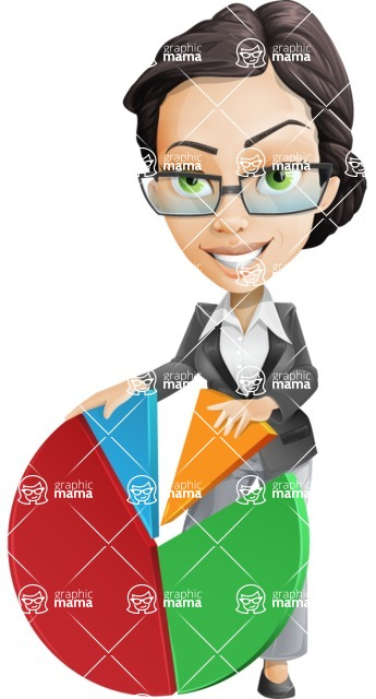 Vector Stylish Office Woman Cartoon Character - Chart