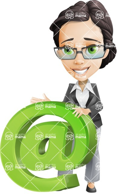 Vector Stylish Office Woman Cartoon Character - Email