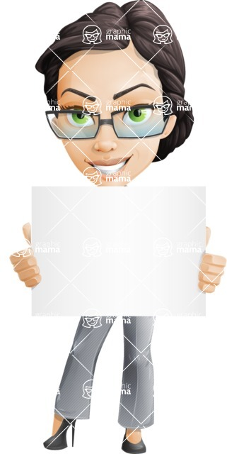 Vector Stylish Office Woman Cartoon Character - Sign3