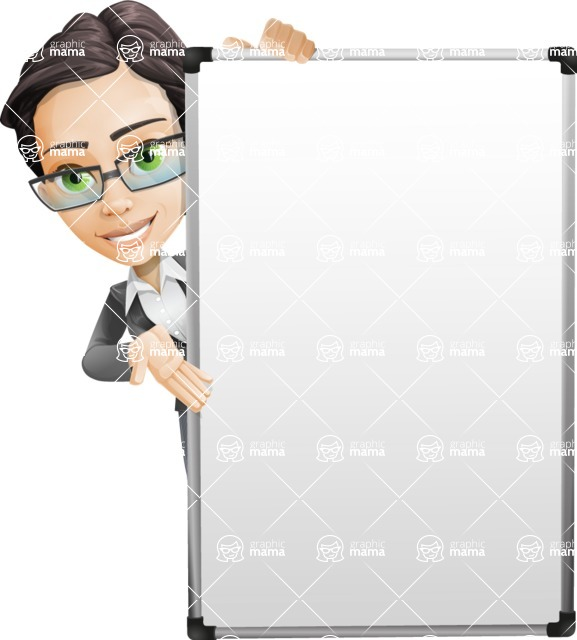 Vector Stylish Office Woman Cartoon Character - Presentation4